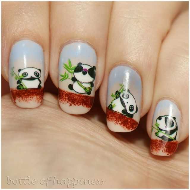 дизайн ногтей животные мультяшная панда