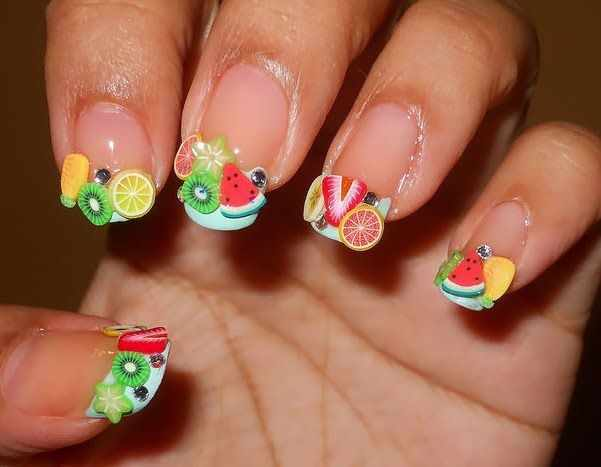 дизайн ногтей с фимо киви арбузы клубника nail design Fruit