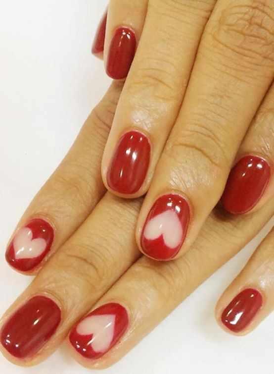 design nail heart маникюр с валентинкой красный