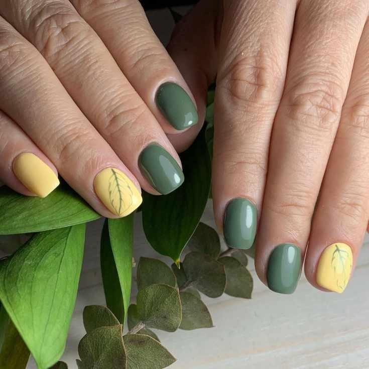 Желто-зеленый нежный маникюр на короткие квадратные ногти с рисунком перышка на безымянных пальцах
