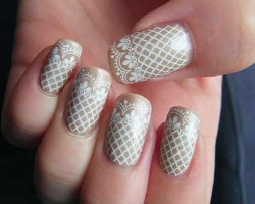 ногти кружева белые сеточкой nail design lace