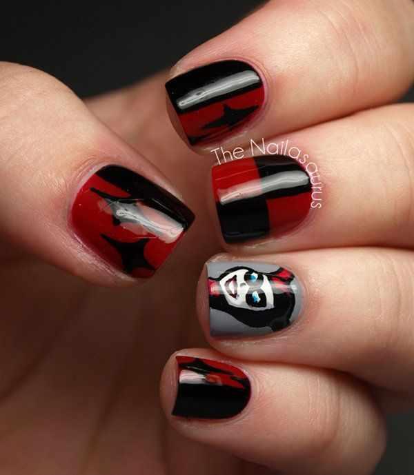 red black manicure красно чёрный дизайн ногтей джокер