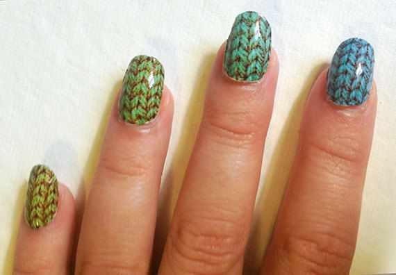 winter manicure with a pattern sweater зимний дизайн ногтей с изображением текстуры свитера 2015 -2016 зелёно синий