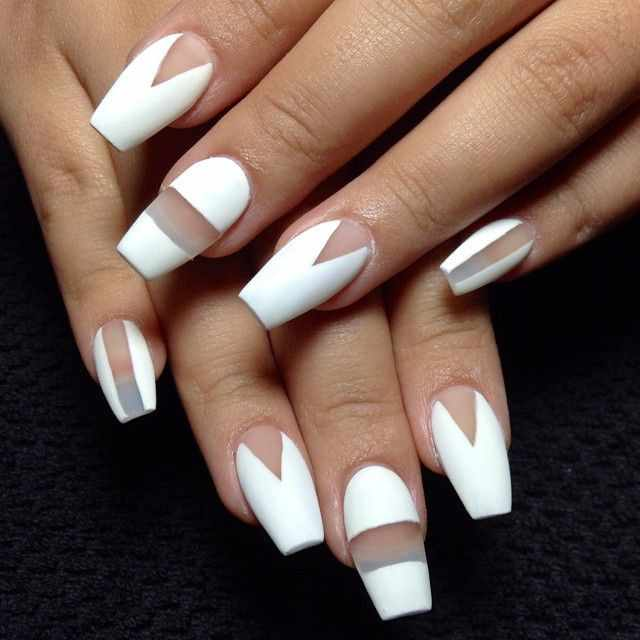 transparent nail design прозрачный маникюр белый manicure with transparent tips