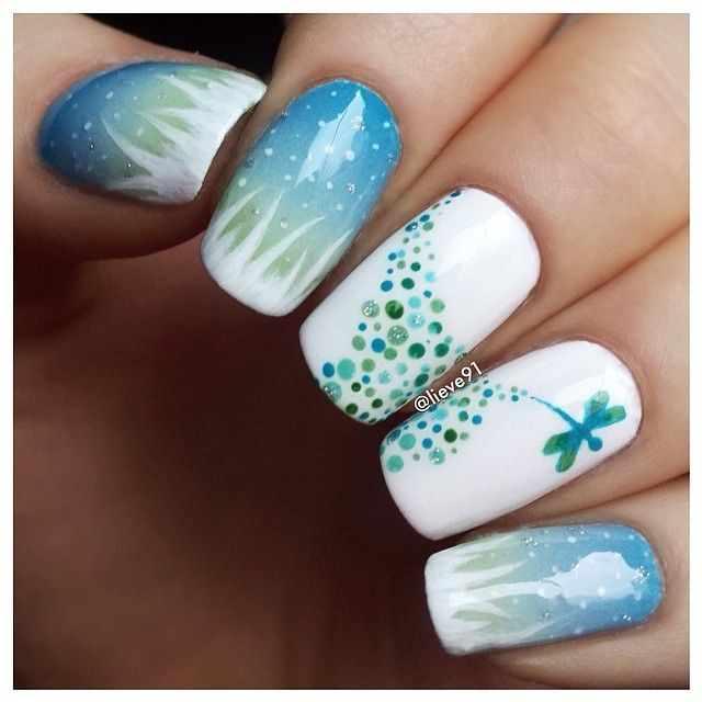 дизайн ногтей стрекоза красиво