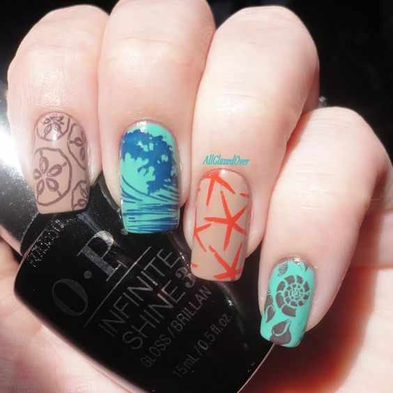 design nails schell морской маникюр с рисунком ракушки