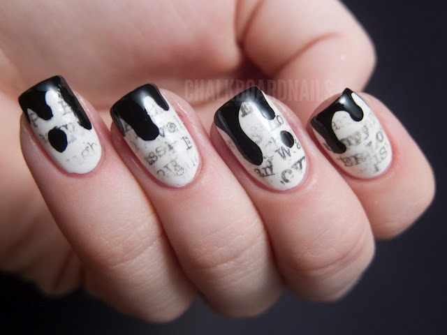 газетный дизайн ногтей чёрная клякса Newspaper nail design
