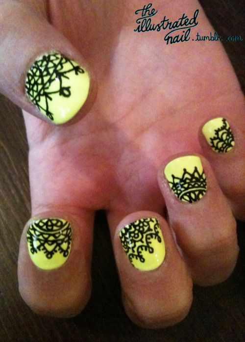 ногти кружева жёлтые nail design lace