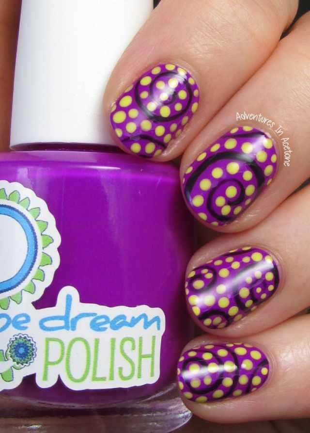 дизайн ногтей точками дотс фиолетово-желтый