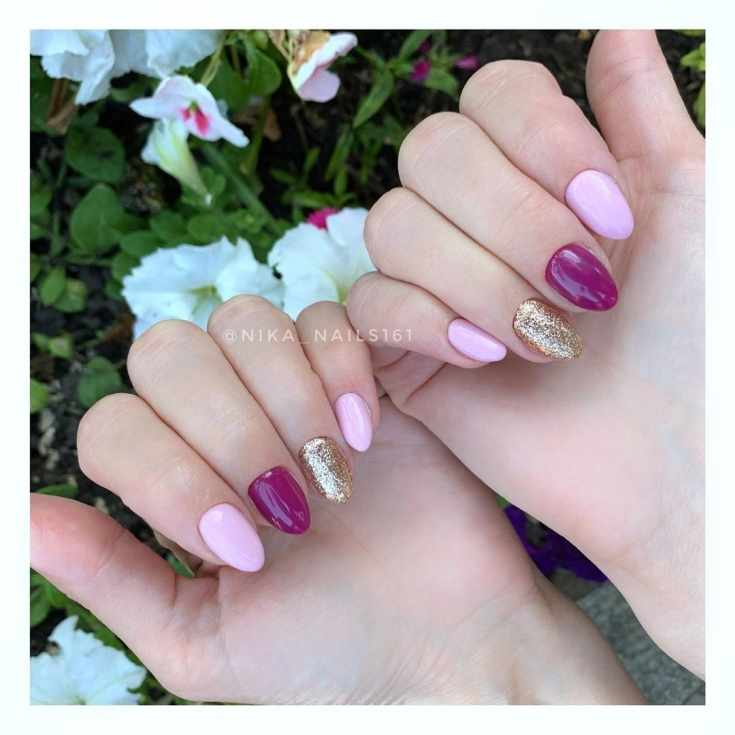 Розовый с фиолетовым маникюр