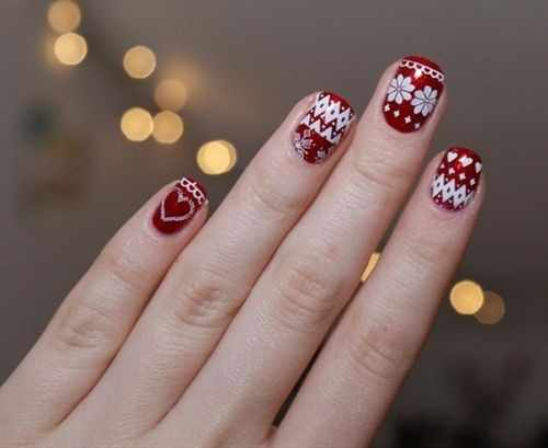 winter manicure with a pattern sweater зимний дизайн ногтей с изображением текстуры свитера 2015 -2016 сердце