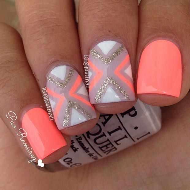 оранжевый маникюр ногтей коралловый