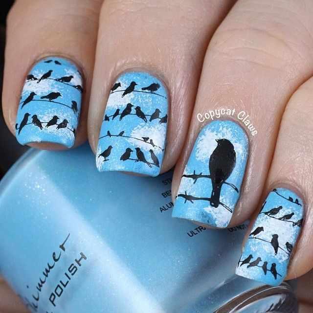 дизайн ногтей животные вороны