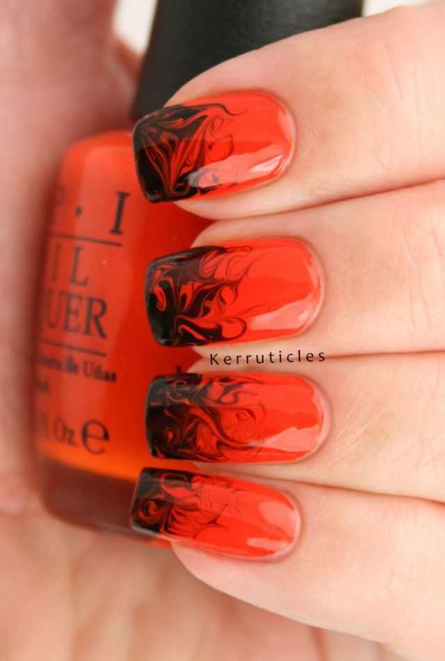 оранжевый маникюр ногтей пламя