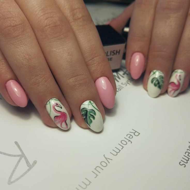 Фламинго на ногтях пошаговые фото