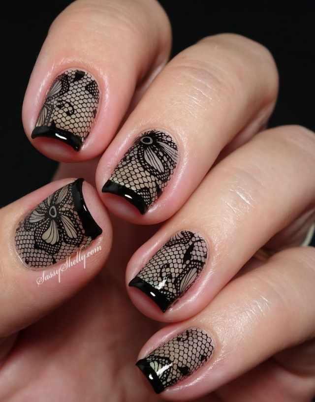 ногти вуаль колготки кружева сеточка nail design lace