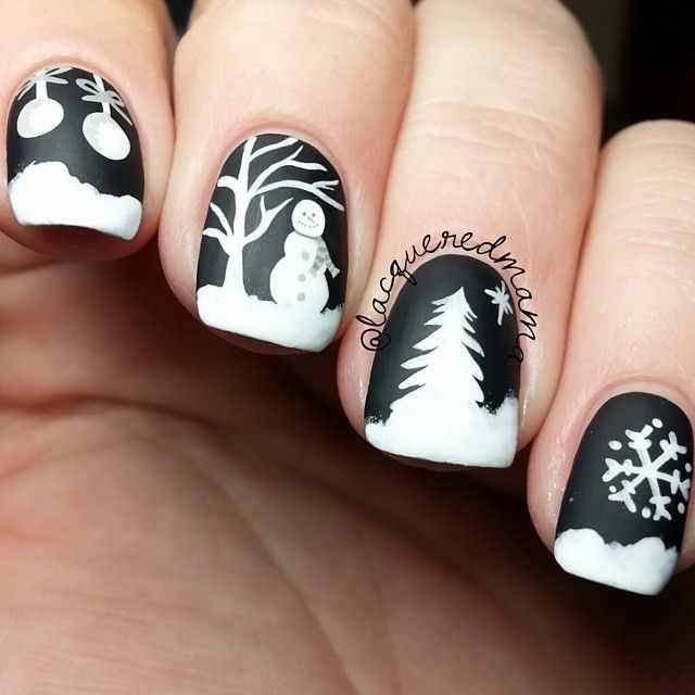 зимний дизайн ногтей с рисунком снеговика