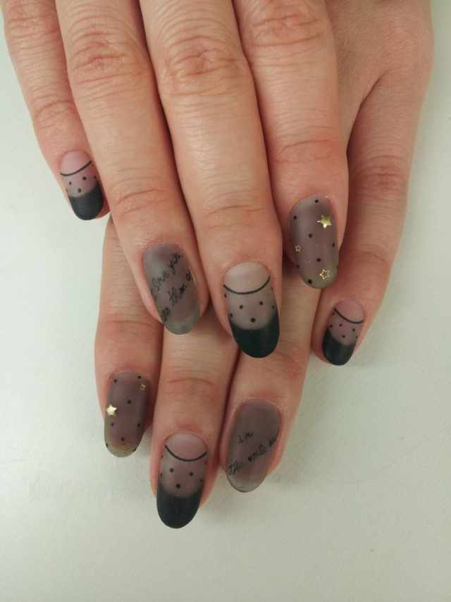 ногти вуаль колготки кружева звёзды nail design lace