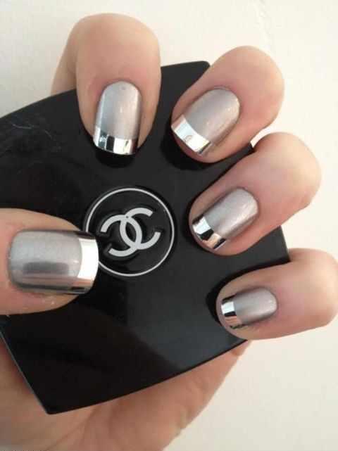 manicure mirror foil зеркальный маникюр с фольгой шанель