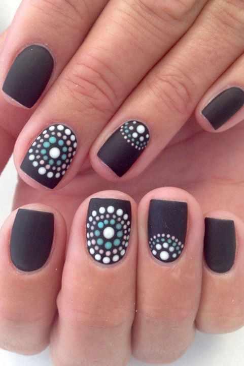 дизайн ногтей точками дотс матовый чёрный