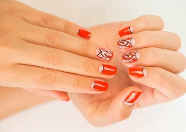 модный дизайн ногтей от чемпионов оранжевый маникюр design of extension of long nails