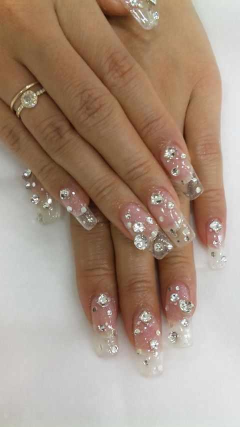 transparent nail design прозрачный маникюр стразы manicure with transparent tips