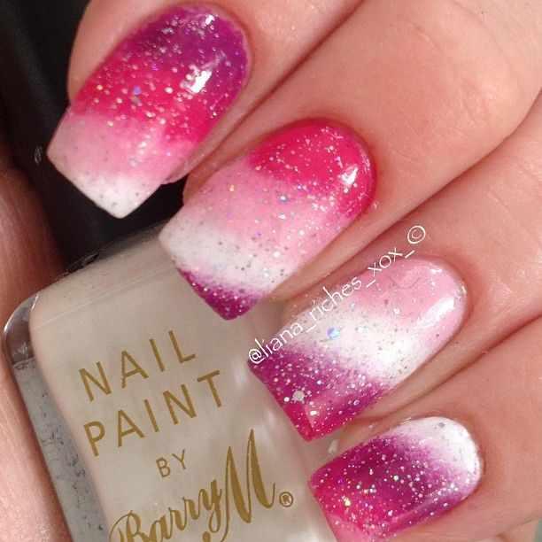beautiful red manicure white pink красно розовый белый маникюр