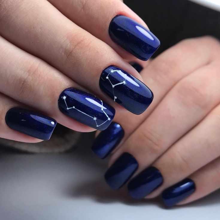 Синий свадебный маникюр