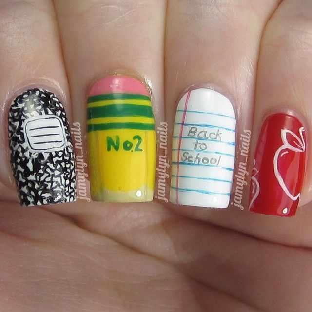школьный дизайн ногтей возврат в школу