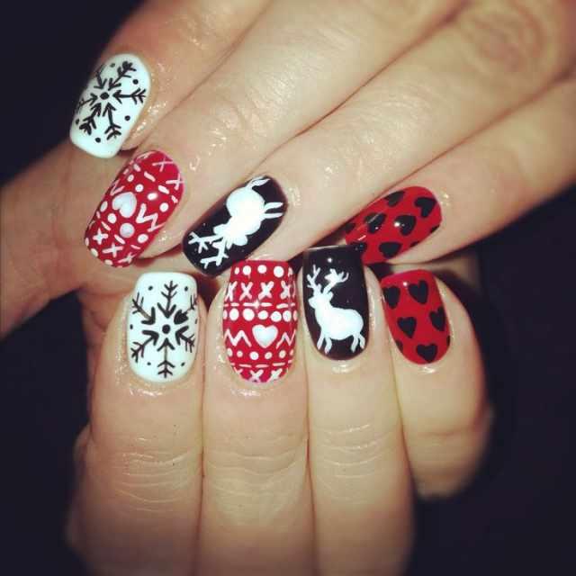 winter manicure with a pattern sweater зимний дизайн ногтей с изображением текстуры свитера 2015 -2016 олень валентинки снежинки