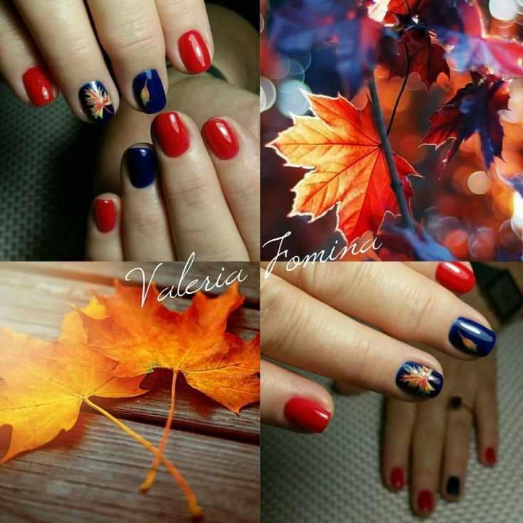 Идеи осеннего маникюра с рисунком падающих листьев