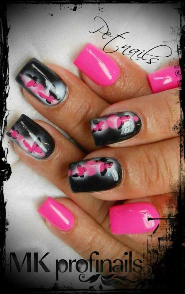 nail design airbrush дизайн ногтей аэрография бабочки