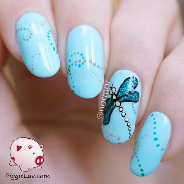 дизайн ногтей стрекоза синий