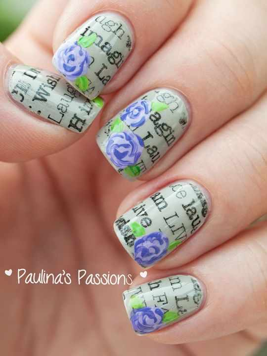 газетный дизайн ногтей синяя роза Newspaper nail design