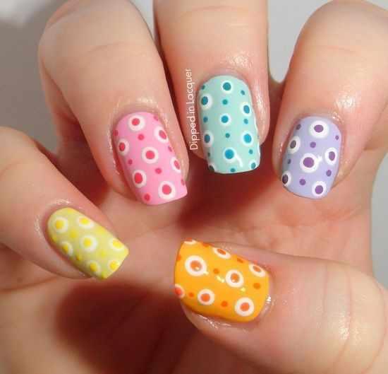 дизайн ногтей точками дотс разноцветные