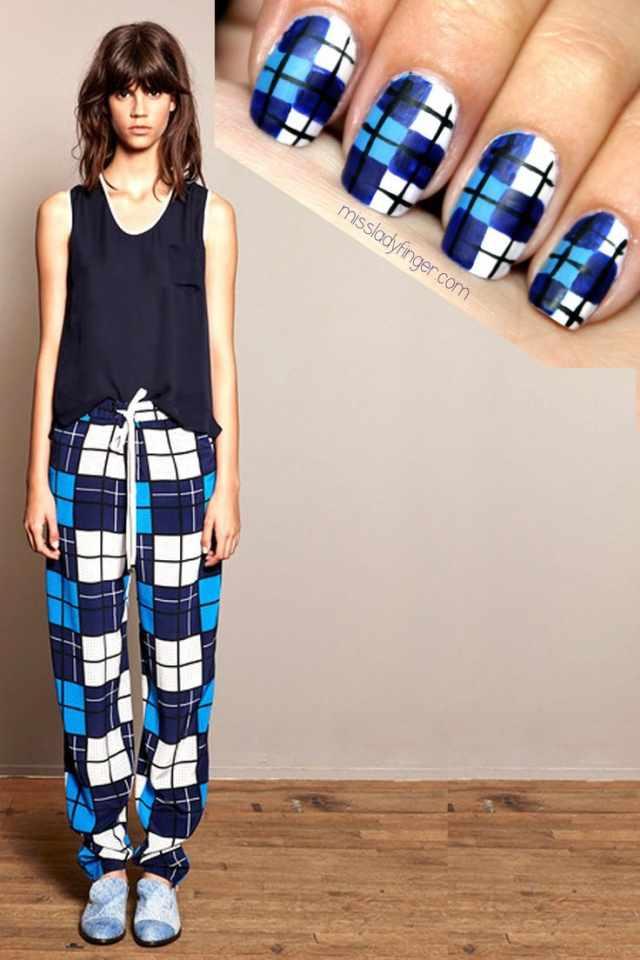 manicure under a blue dress маникюр под синии пижамные штаны