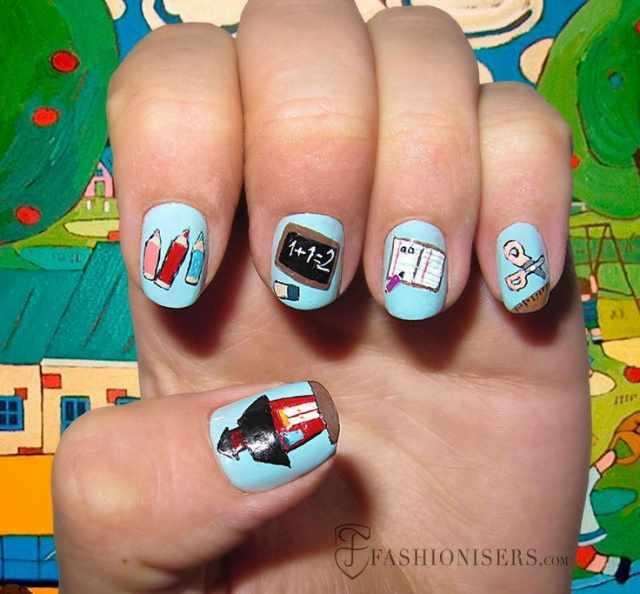 школьный дизайн ногтей домик