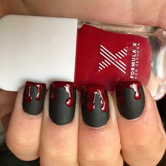 red black manicure красно чёрный дизайн ногтей кровь