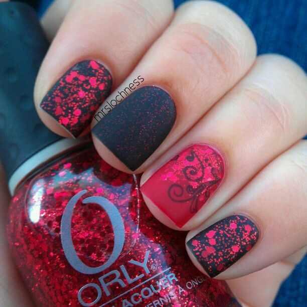 red black manicure красно чёрный дизайн ногтей паетки