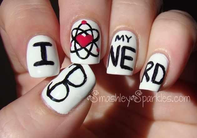 школьный дизайн ногтей любовь