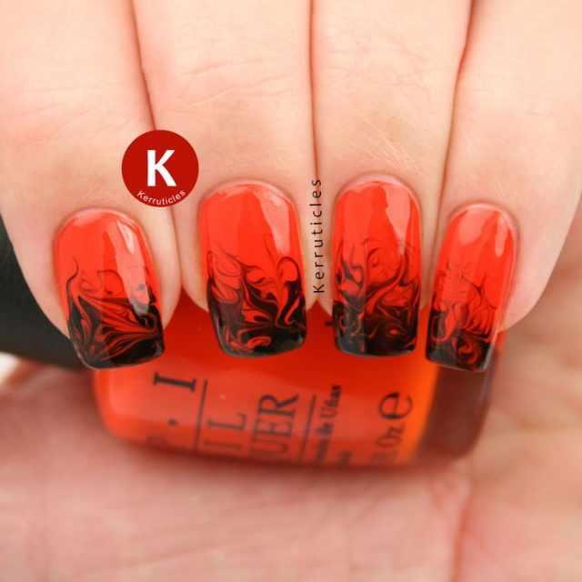 red black manicure красно чёрный дизайн ногтей пламя