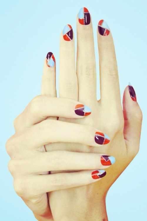 геометрический дизайн ногтей оранжевый