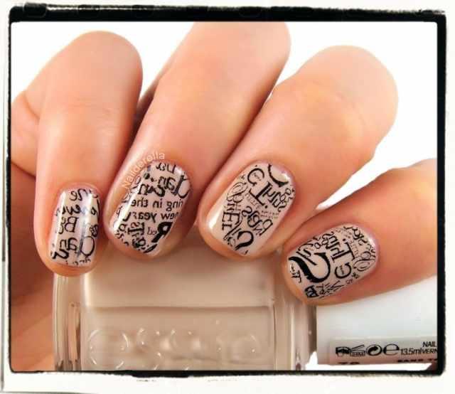 газетный дизайн ногтей вразнобой Newspaper nail design