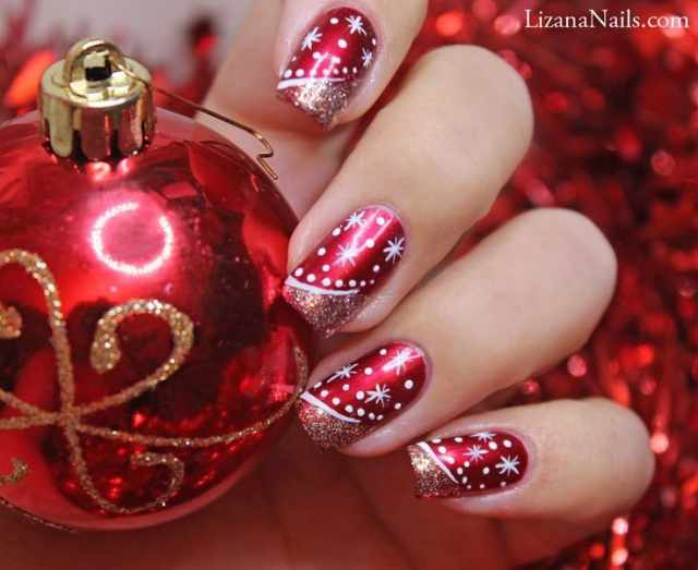beautiful red manicure white cristmas toy красно белый зимний маникюр
