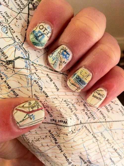 газетный дизайн ногтей карта Newspaper nail design