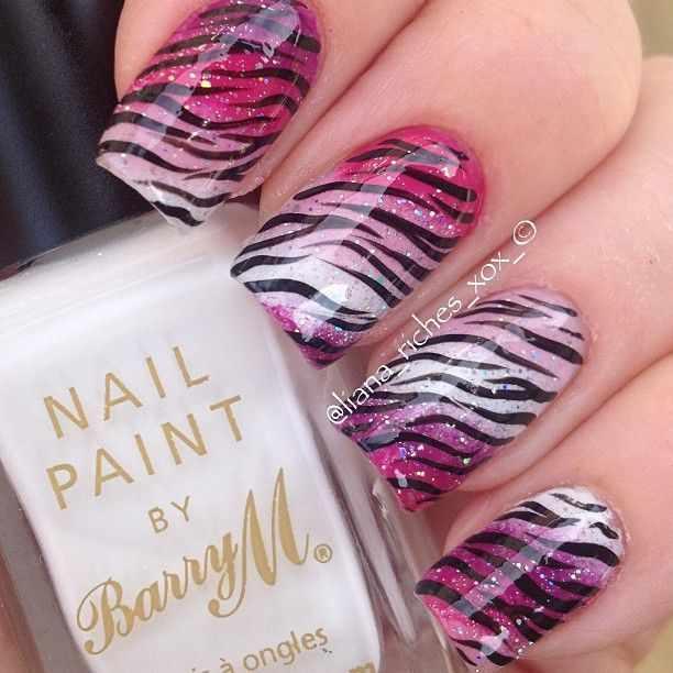 beautiful red manicure white gradien zebra красно белый маникюр зебра