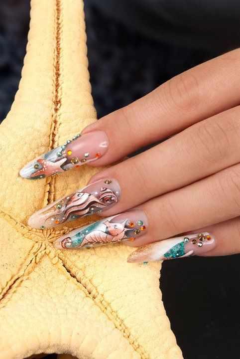 модный дизайн ногтей от чемпионов морской design of extension of long nails