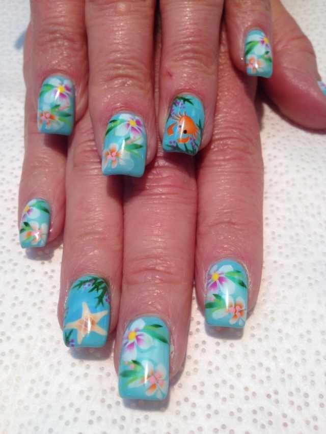 nail design airbrush дизайн ногтей аэрография цветы краб морская звезда