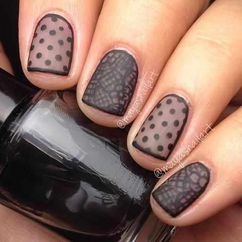 ногти вуаль колготки кружева nail design lace