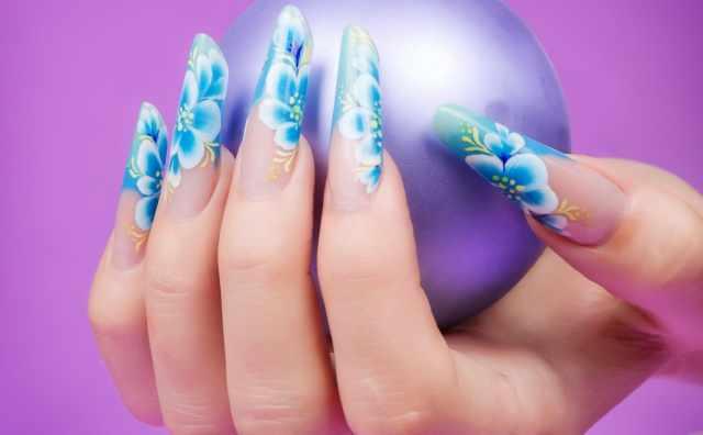 модный дизайн ногтей от чемпионов цветы design of extension of long nails